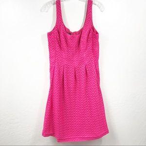 Nine West Hot Pink Lace Sleeveless Pleated Dress